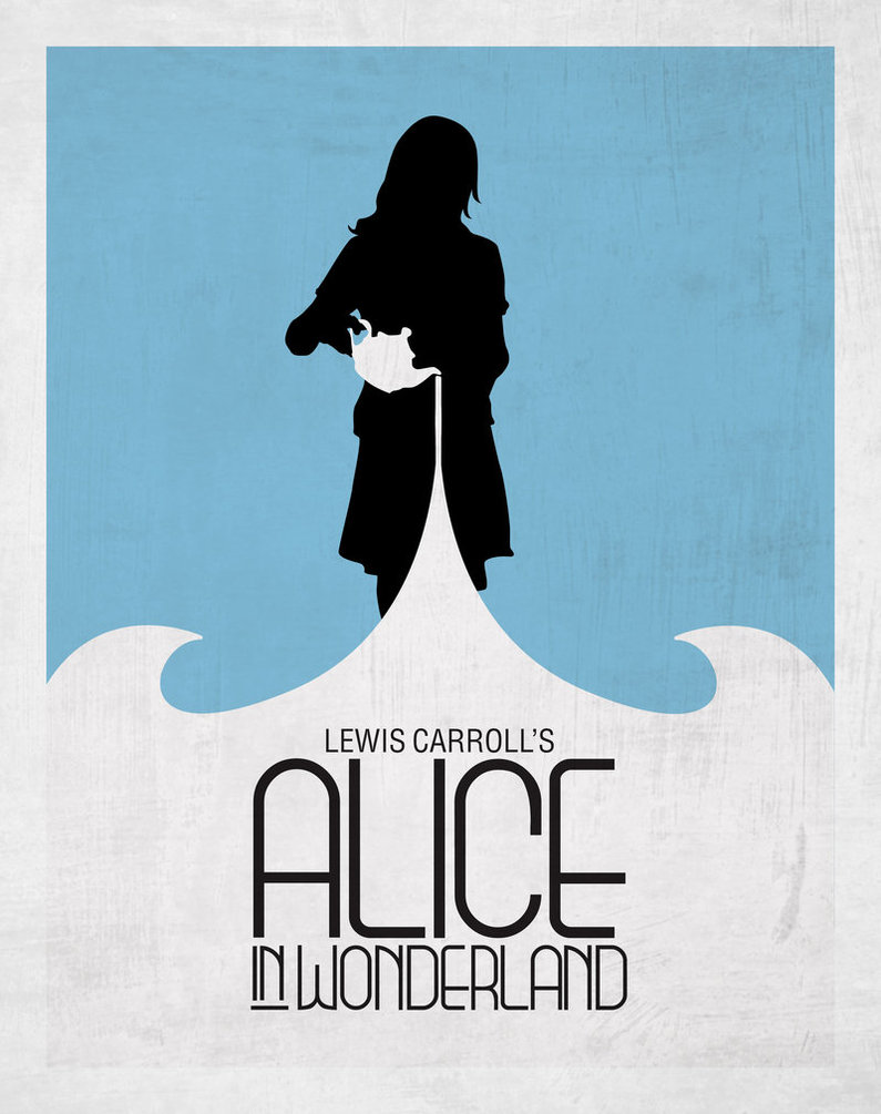 Minimalist grundge style poster for alice in Wonderland